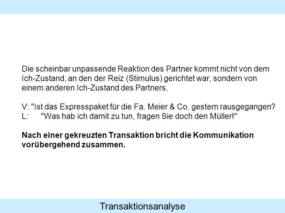 Transaktionsanalyse Die scheinbar unpassende Reaktion des Partner kommt nicht von dem Ich-Zustand, an den der Reiz (Stimulus) gerichtet war, sondern v