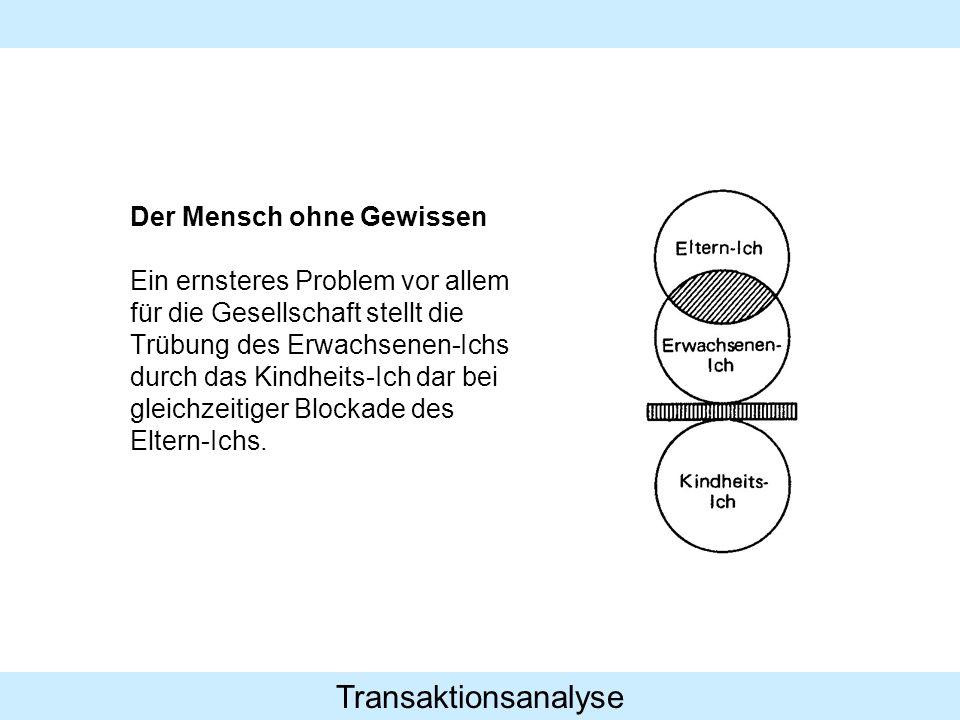Transaktionsanalyse Der Mensch ohne Gewissen Ein ernsteres Problem vor allem für die Gesellschaft stellt die Trübung des Erwachsenen-Ichs durch das Ki