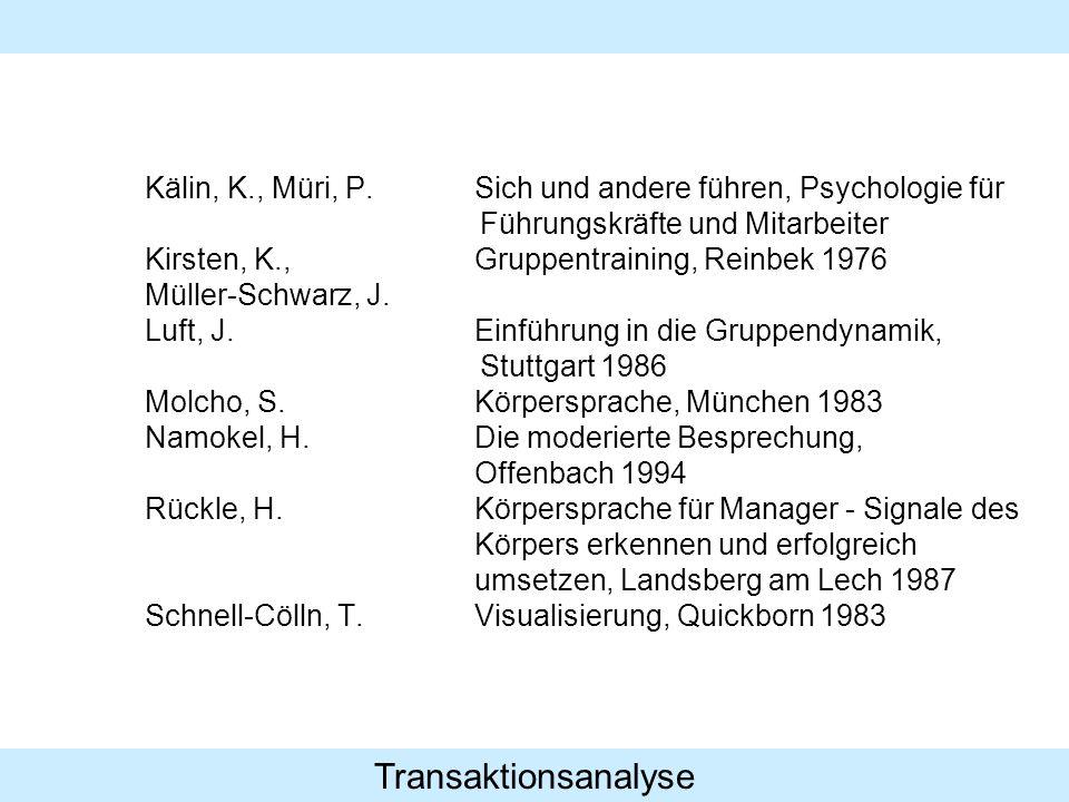 Transaktionsanalyse Kälin, K., Müri, P.Sich und andere führen, Psychologie für Führungskräfte und Mitarbeiter Kirsten, K.,Gruppentraining, Reinbek 1976 Müller-Schwarz, J.