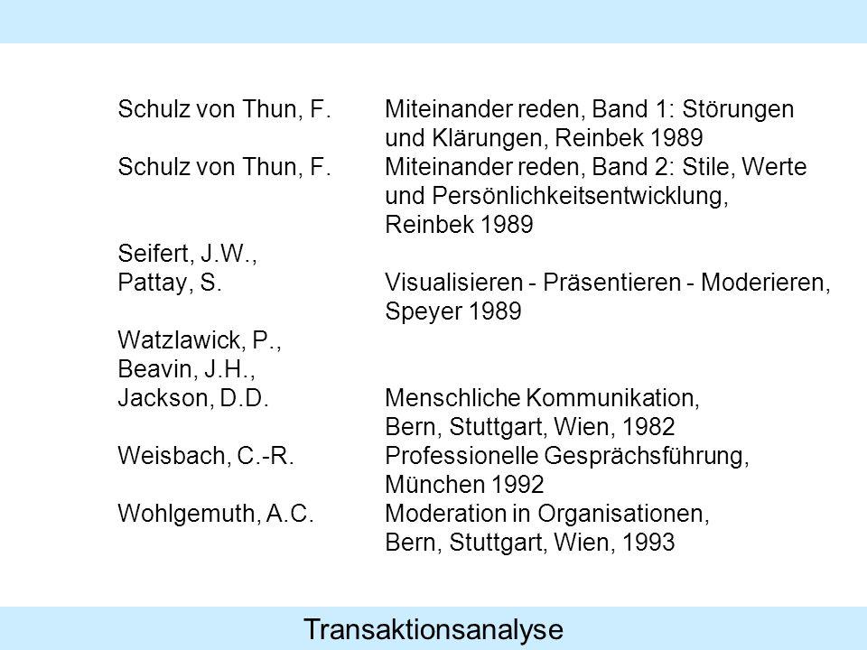 Transaktionsanalyse Schulz von Thun, F.Miteinander reden, Band 1: Störungen und Klärungen, Reinbek 1989 Schulz von Thun, F.Miteinander reden, Band 2: