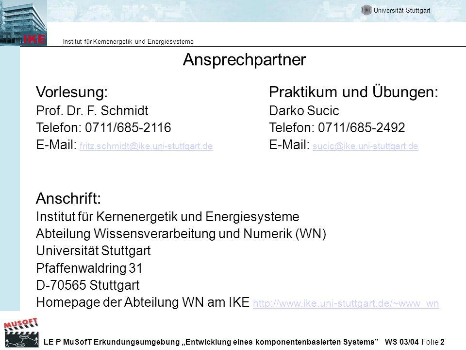 Universität Stuttgart Institut für Kernenergetik und Energiesysteme LE P MuSofT Erkundungsumgebung Entwicklung eines komponentenbasierten Systems WS 03/04 Folie 133 Testing Frameworks im Internet Testing Framework (xUnit, unit testing) http://www.xprogramming.com/software.htm http://www.xprogramming.com/software.htm Kent Becks Orginal Test Framework Paper http://www.xprogramming.com/testfram.htm Xunit testing frameworks http://www.junit.org/index.htm Bugzilla http://www.mozilla.org/projects/bugzilla/ Automatisches Unit Testing http://www.parasoft.com Unit Teating mit Junit by F.
