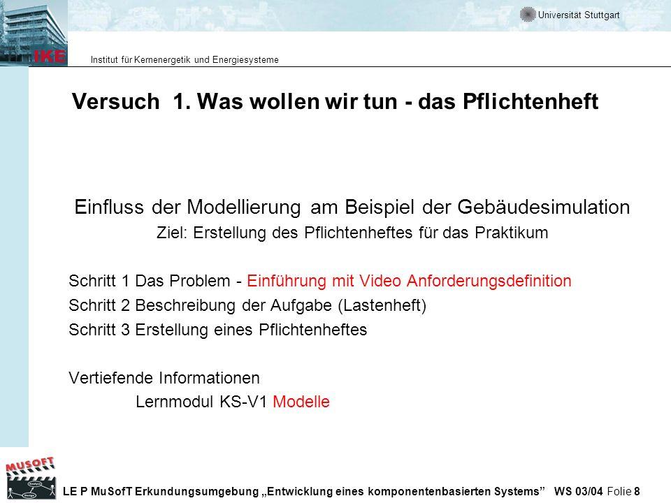 Universität Stuttgart Institut für Kernenergetik und Energiesysteme LE P MuSofT Erkundungsumgebung Entwicklung eines komponentenbasierten Systems WS 03/04 Folie 149 Durchführung des PSP Der Personal Software Process wird anhand von Skripten durchgeführt.