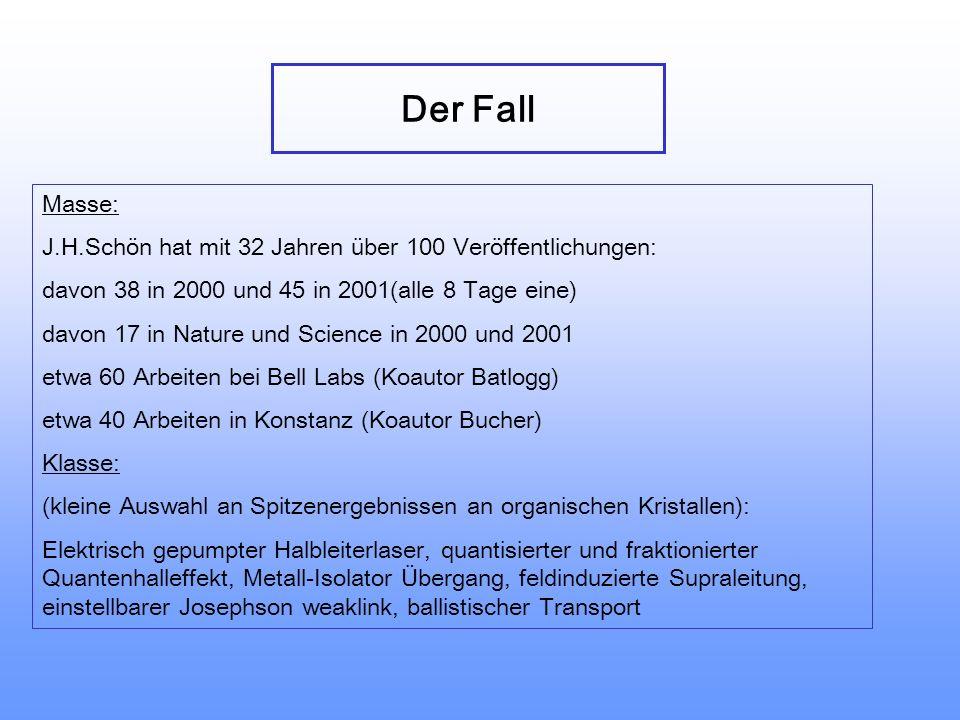 Auswirkungen auf die Wissenschaft J.H.Schön, Ch.Kloc, B.Batlogg, Phys.Rev.B 63 2445201 (2001)