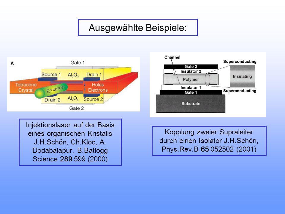 Ausgewählte Beispiele: Injektionslaser auf der Basis eines organischen Kristalls J.H.Schön, Ch.Kloc, A.