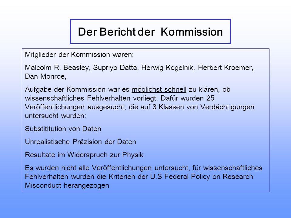 Der Bericht der Kommission Mitglieder der Kommission waren: Malcolm R.