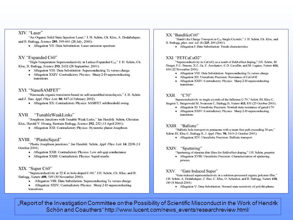 Liste der untersuchten Veröffentlichungen Report of the Investigation Committee on the Possibility of Scientific Misconduct in the Work of Hendrik Sch