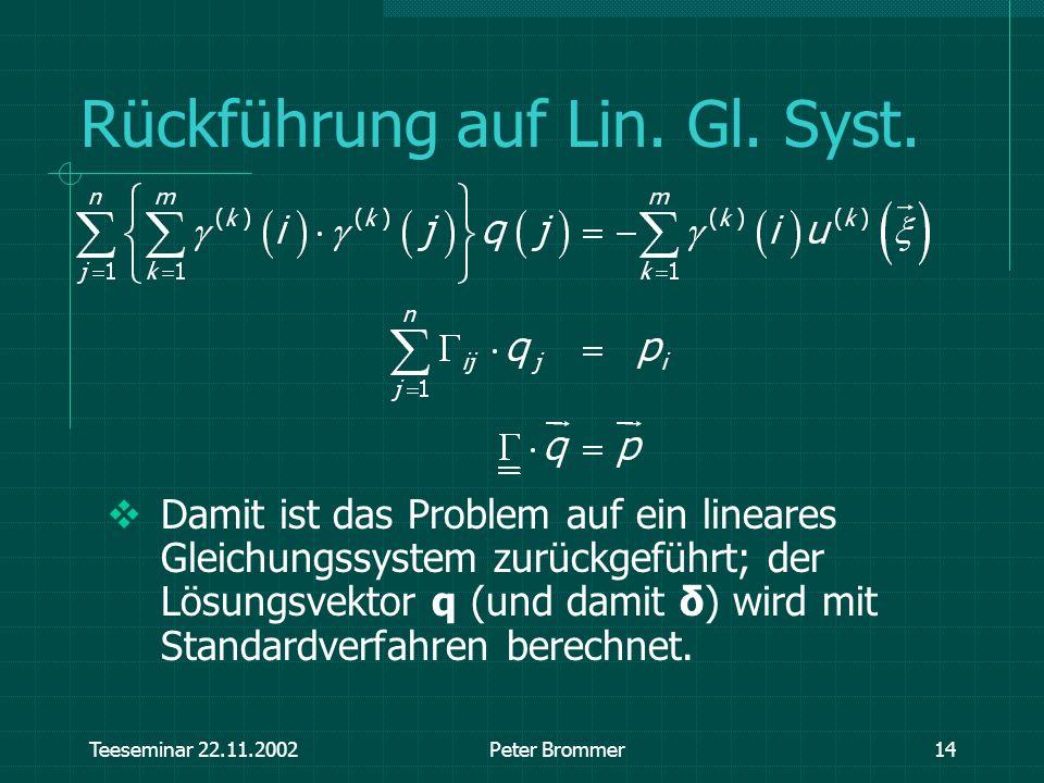 Teeseminar 22.11.2002Peter Brommer14 Rückführung auf Lin. Gl. Syst. Damit ist das Problem auf ein lineares Gleichungssystem zurückgeführt; der Lösungs