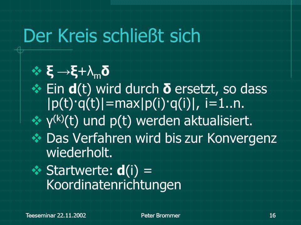 Teeseminar 22.11.2002Peter Brommer16 Der Kreis schließt sich ξ ξ+λ m δ Ein d(t) wird durch δ ersetzt, so dass |p(t)·q(t)|=max|p(i)·q(i)|, i=1..n. γ (k