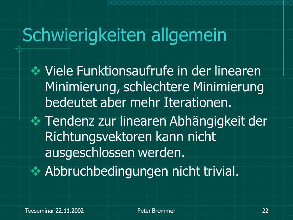 Teeseminar 22.11.2002Peter Brommer22 Schwierigkeiten allgemein Viele Funktionsaufrufe in der linearen Minimierung, schlechtere Minimierung bedeutet ab