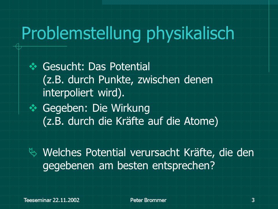 Teeseminar 22.11.2002Peter Brommer3 Problemstellung physikalisch Gesucht: Das Potential (z.B. durch Punkte, zwischen denen interpoliert wird). Gegeben