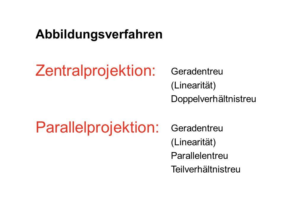 Abbildungsverfahren Zentralprojektion: Parallelprojektion: Geradentreu (Linearität) Doppelverhältnistreu Geradentreu (Linearität) Parallelentreu Teilv