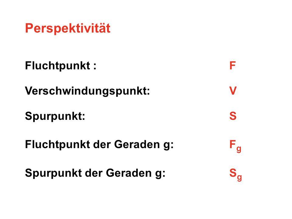 Perspektivität Fluchtpunkt : F Verschwindungspunkt: V Spurpunkt:S Fluchtpunkt der Geraden g: F g Spurpunkt der Geraden g:S g
