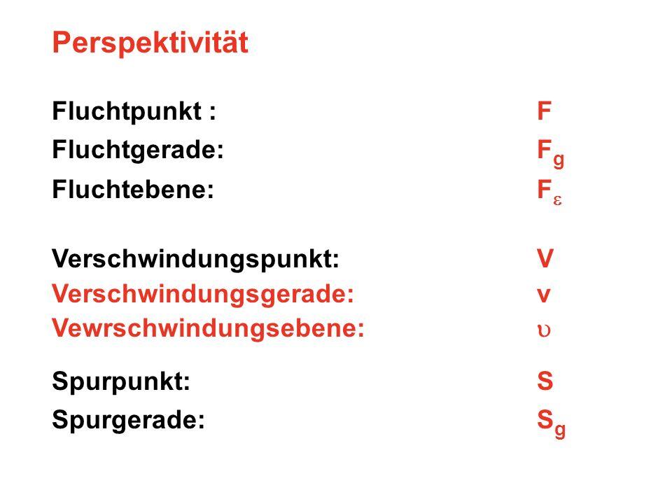 Perspektivität Fluchtpunkt : F Fluchtgerade: F g Fluchtebene: F Verschwindungspunkt: V Verschwindungsgerade: v Vewrschwindungsebene: Spurpunkt: S Spur