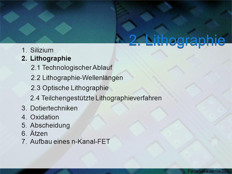Ferienakademie 2005 1.Silizium 2.Lithographie 2.1 Technologischer Ablauf 2.2 Lithographie-Wellenlängen 2.3 Optische Lithographie 2.4 Teilchengestützte