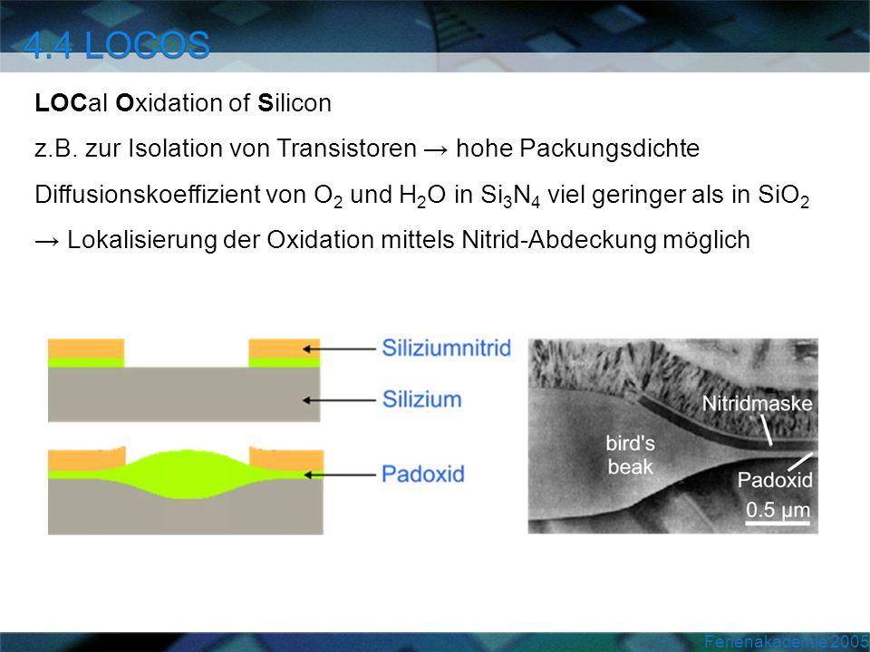 Ferienakademie 2005 LOCal Oxidation of Silicon z.B. zur Isolation von Transistoren hohe Packungsdichte Diffusionskoeffizient von O 2 und H 2 O in Si 3
