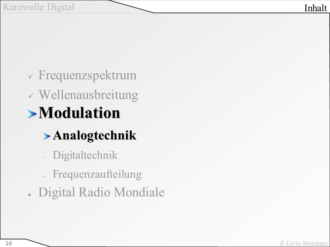 Kurzwelle Digital © Liviu Stoicescu16 Frequenzspektrum WellenausbreitungModulationAnalogtechnik – Digitaltechnik – Frequenzaufteilung Digital Radio Mo