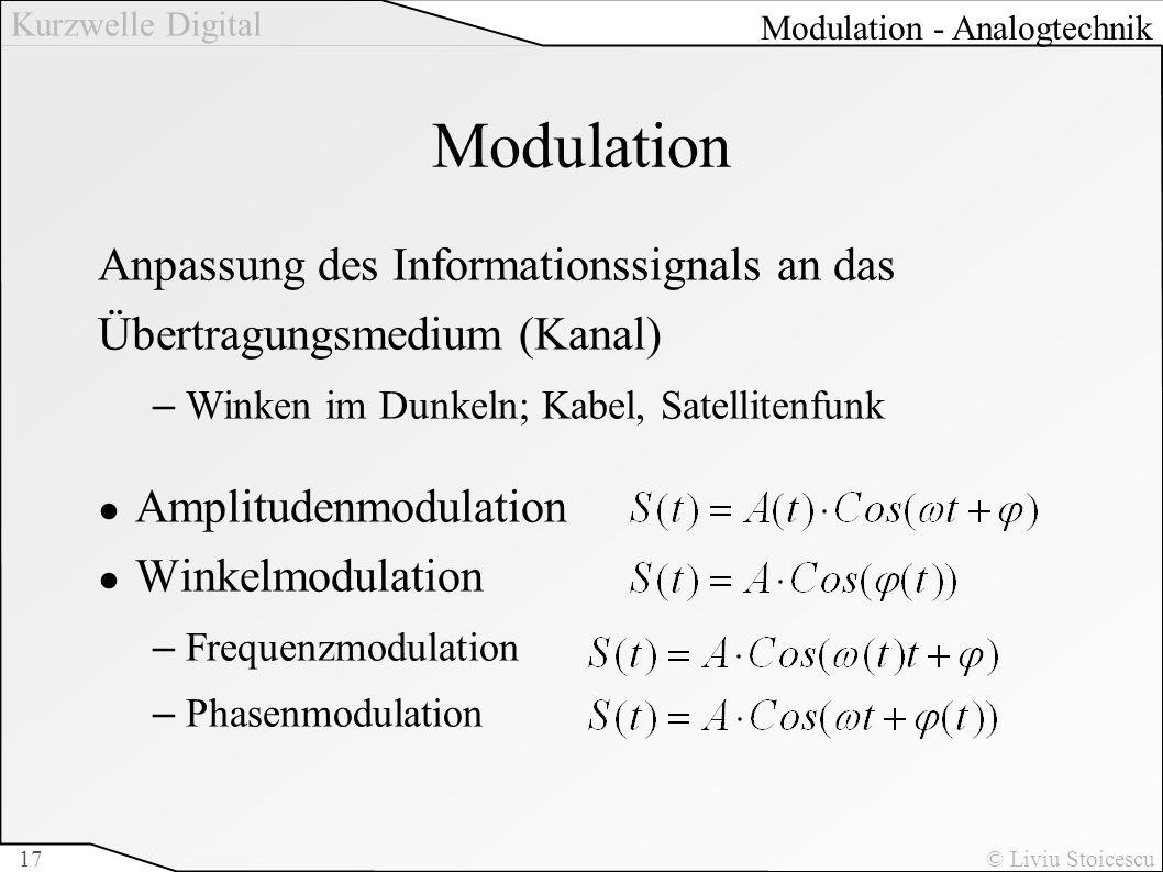 Kurzwelle Digital © Liviu Stoicescu17 Modulation Anpassung des Informationssignals an das Übertragungsmedium (Kanal) –Winken im Dunkeln; Kabel, Satell