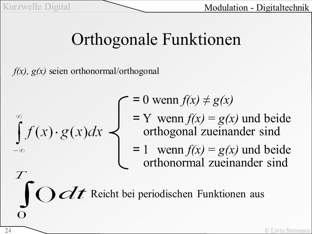Kurzwelle Digital © Liviu Stoicescu24 Orthogonale Funktionen =0 wenn f(x) g(x) =Y wenn f(x) = g(x) und beide orthogonal zueinander sind =1 wenn f(x) =