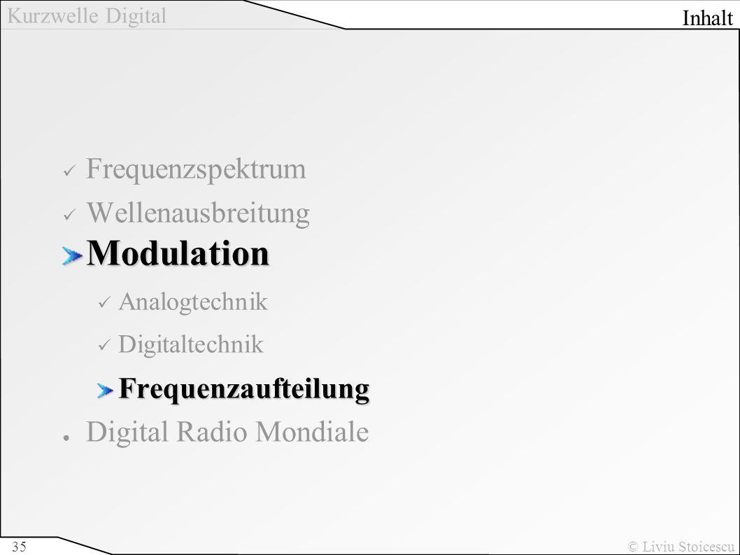 Kurzwelle Digital © Liviu Stoicescu35 Frequenzspektrum WellenausbreitungModulation Analogtechnik DigitaltechnikFrequenzaufteilung Digital Radio Mondia