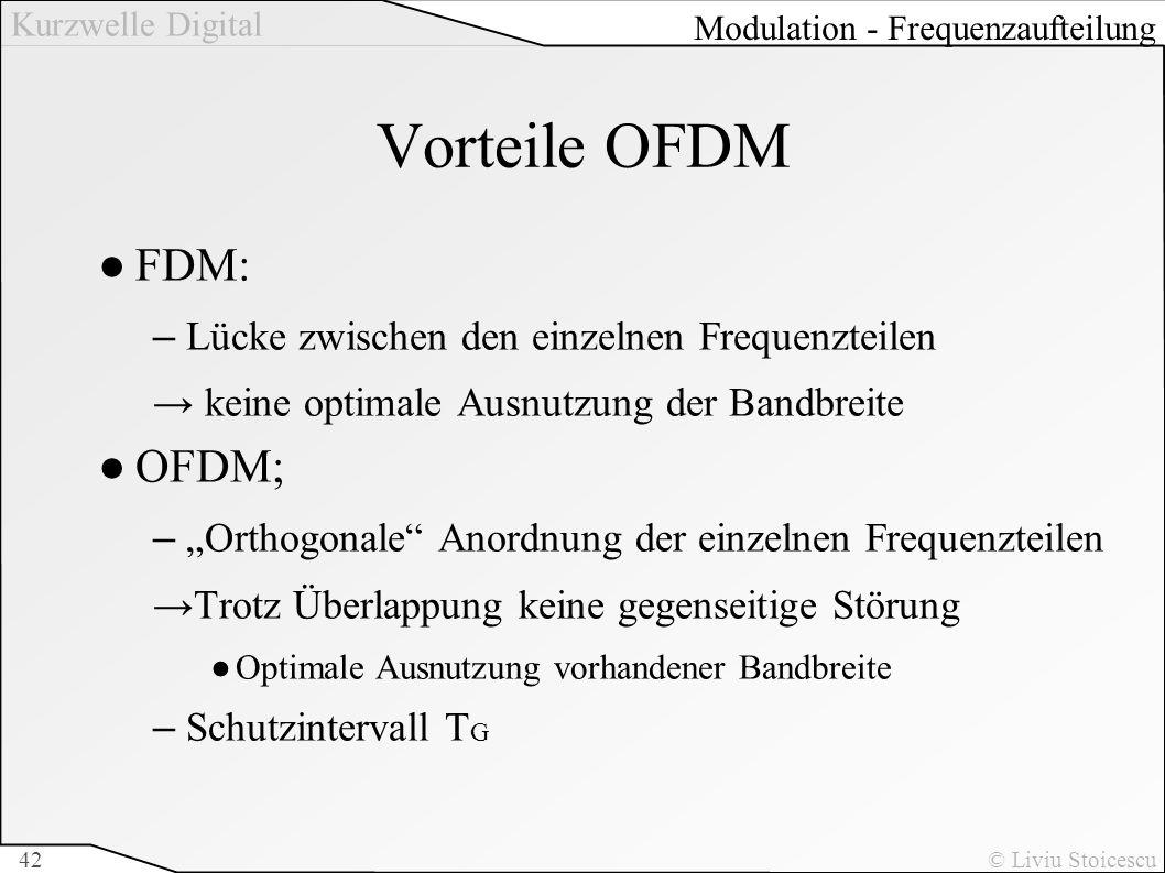 Kurzwelle Digital © Liviu Stoicescu42 Vorteile OFDM FDM: –Lücke zwischen den einzelnen Frequenzteilen keine optimale Ausnutzung der Bandbreite OFDM; –