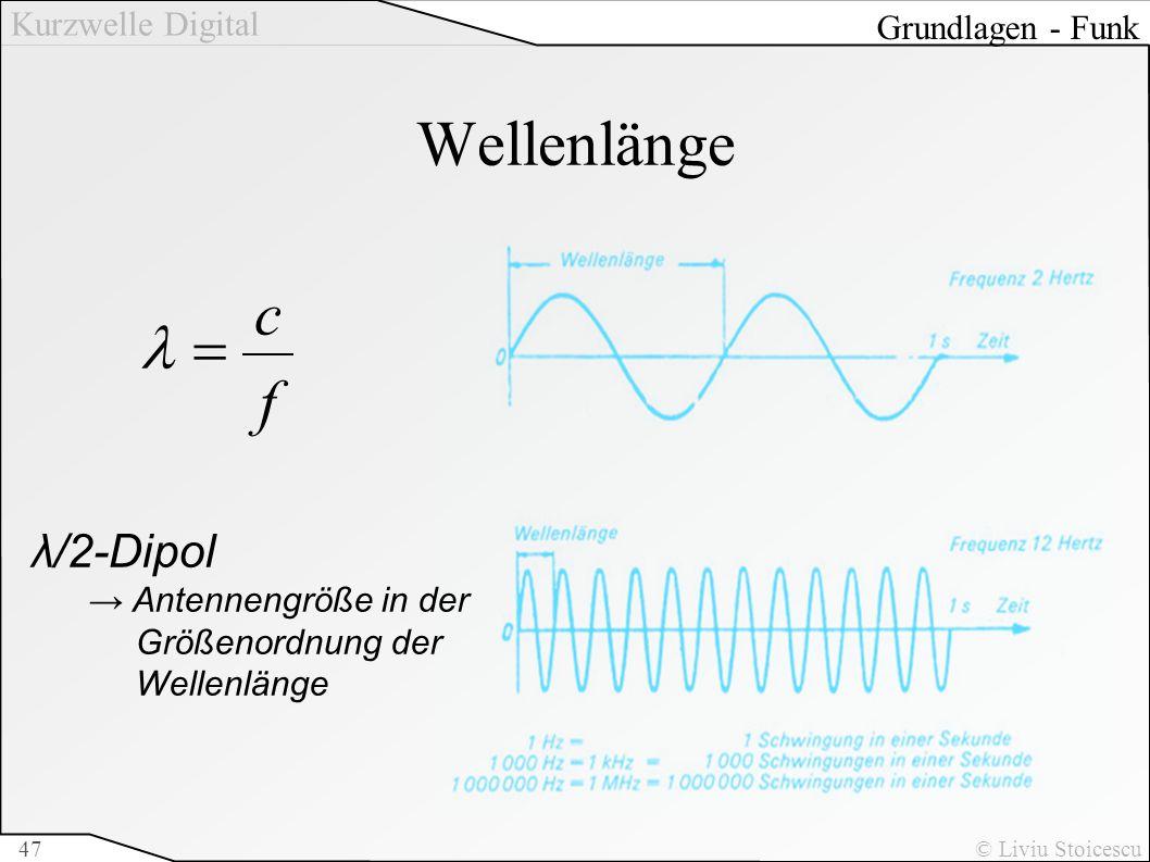 Kurzwelle Digital © Liviu Stoicescu47 Wellenlänge Grundlagen - Funk f c λ/2-Dipol Antennengröße in der Größenordnung der Wellenlänge