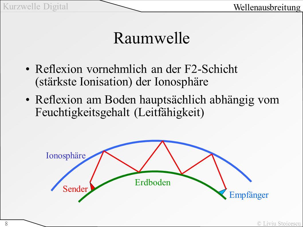 Kurzwelle Digital © Liviu Stoicescu8 Raumwelle Reflexion vornehmlich an der F2-Schicht (stärkste Ionisation) der Ionosphäre Reflexion am Boden hauptsä