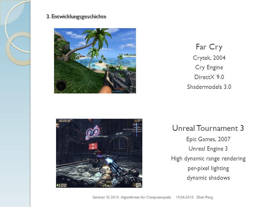 Seminar SS 2010 Algorithmen für Computerspiele 19.04.2010 Zhen Peng 3. Entwicklungsgeschichte Far Cry Crytek, 2004 Cry Engine DirectX 9.0 Shadermodels