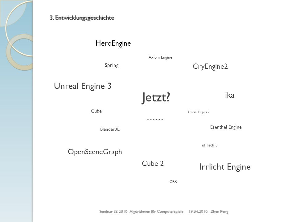 Jetzt? Axiom Engine Unreal Engine 3 CryEngine2 Esenthel Engine Blender3D Cube 2 id Tech 3 ika Irrlicht Engine Spring........... OpenSceneGraph ORX Her