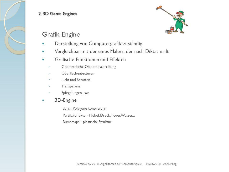 Grafik-Engine Darstellung von Computergrafik zuständig Vergleichbar mit der eines Malers, der nach Diktat malt Grafische Funktionen und Effekten Geome