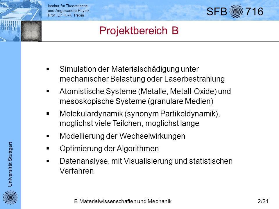 Institut für Theoretische und Angewandte Physik Prof. Dr. H.-R. Trebin SFB 716 B Materialwissenschaften und Mechanik2/21 Projektbereich B Simulation d