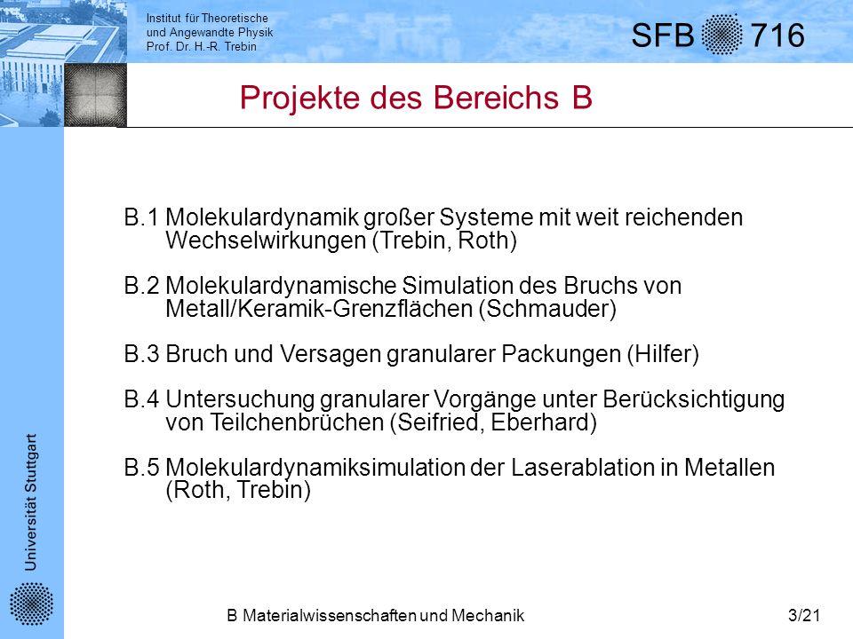 Institut für Theoretische und Angewandte Physik Prof. Dr. H.-R. Trebin SFB 716 B Materialwissenschaften und Mechanik3/21 Projekte des Bereichs B B.1 M
