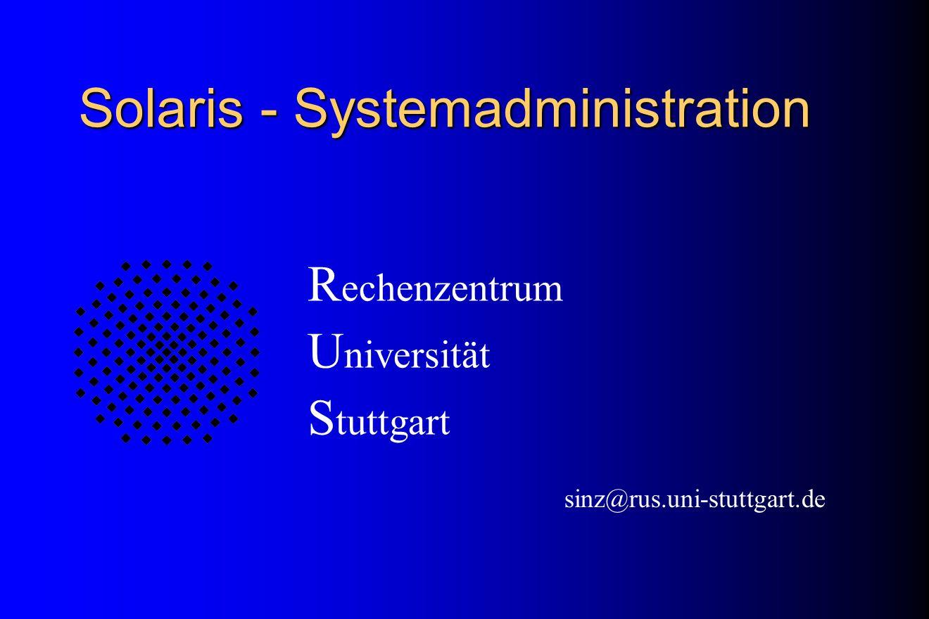 Restore Systemplatte # mount /dev/dsk/c0t3d0s0 /mnt (neue Platte) # cd /mnt # ufsrestore rvf /dev/rmt/0 # cd / # umount /mnt # installboot \ /usr/platform/sun4m/lib/fs/ufs/bootblk\ /dev/rdsk/c0t3d0s0 # init 6 (Reboot)