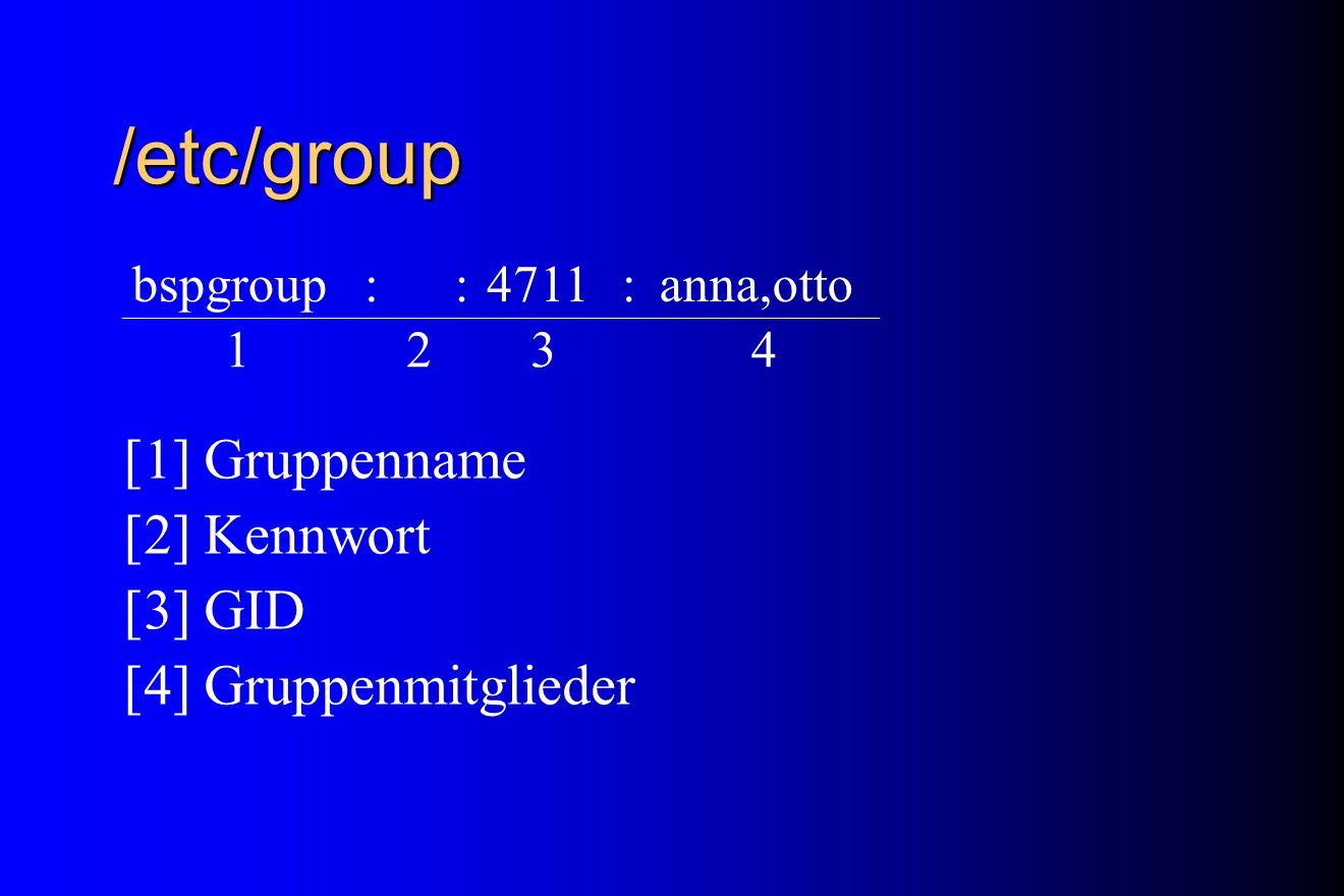 /etc/group [1] Gruppenname [2] Kennwort [3] GID [4] Gruppenmitglieder bspgroup::4711:anna,otto 1234