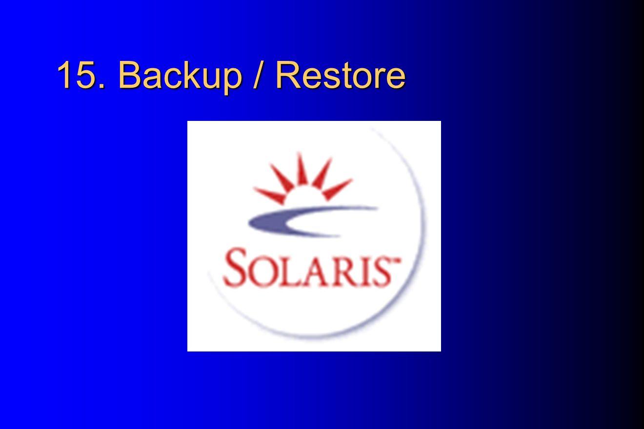 15. Backup / Restore