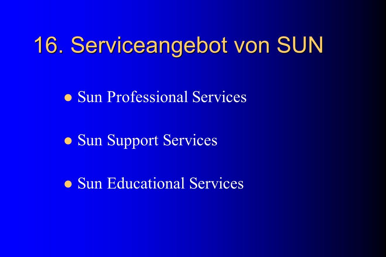 16. Serviceangebot von SUN Sun Professional Services Sun Support Services Sun Educational Services