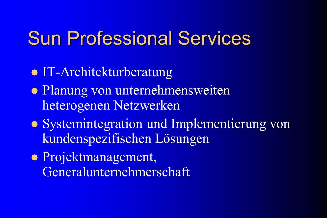 Sun Professional Services IT-Architekturberatung Planung von unternehmensweiten heterogenen Netzwerken Systemintegration und Implementierung von kunde