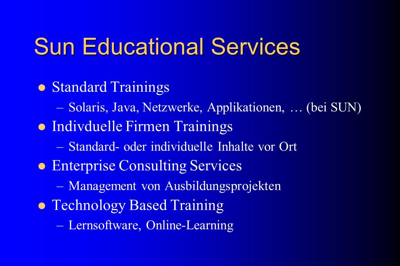 Sun Educational Services Standard Trainings –Solaris, Java, Netzwerke, Applikationen, … (bei SUN) Indivduelle Firmen Trainings –Standard- oder individ