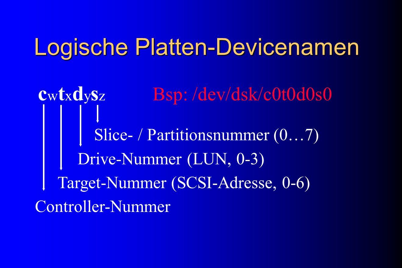 Logische Platten-Devicenamen c w t x d y s z Bsp: /dev/dsk/c0t0d0s0 Controller-Nummer Target-Nummer (SCSI-Adresse, 0-6) Drive-Nummer (LUN, 0-3) Slice-