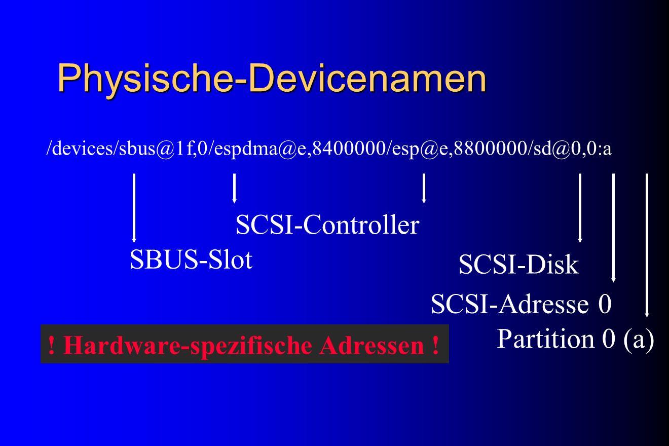 Physische-Devicenamen /devices/sbus@1f,0/espdma@e,8400000/esp@e,8800000/sd@0,0:a Partition 0 (a) SCSI-Adresse 0 SCSI-Disk SCSI-Controller SBUS-Slot !