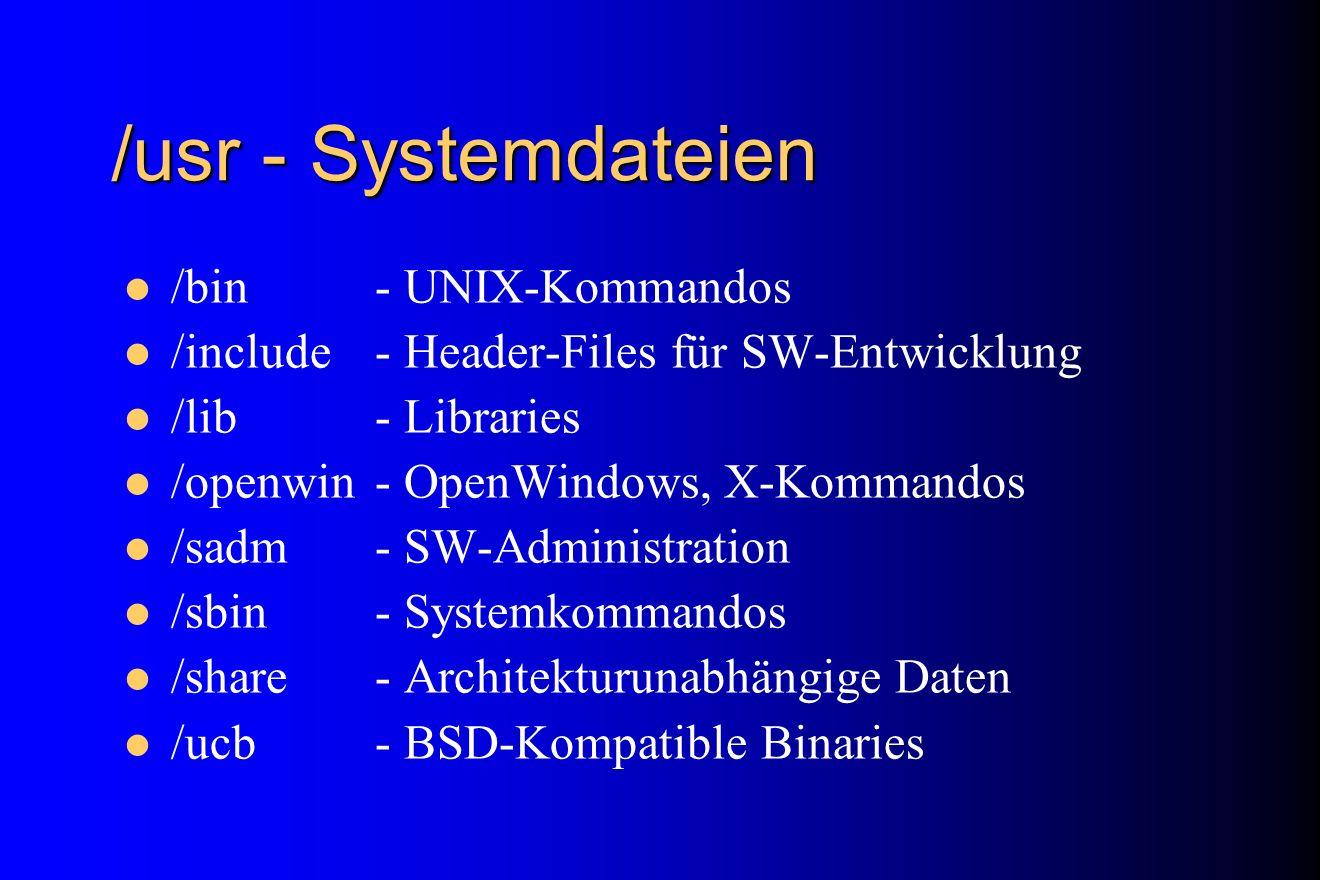 /usr - Systemdateien /bin- UNIX-Kommandos /include- Header-Files für SW-Entwicklung /lib- Libraries /openwin- OpenWindows, X-Kommandos /sadm- SW-Admin