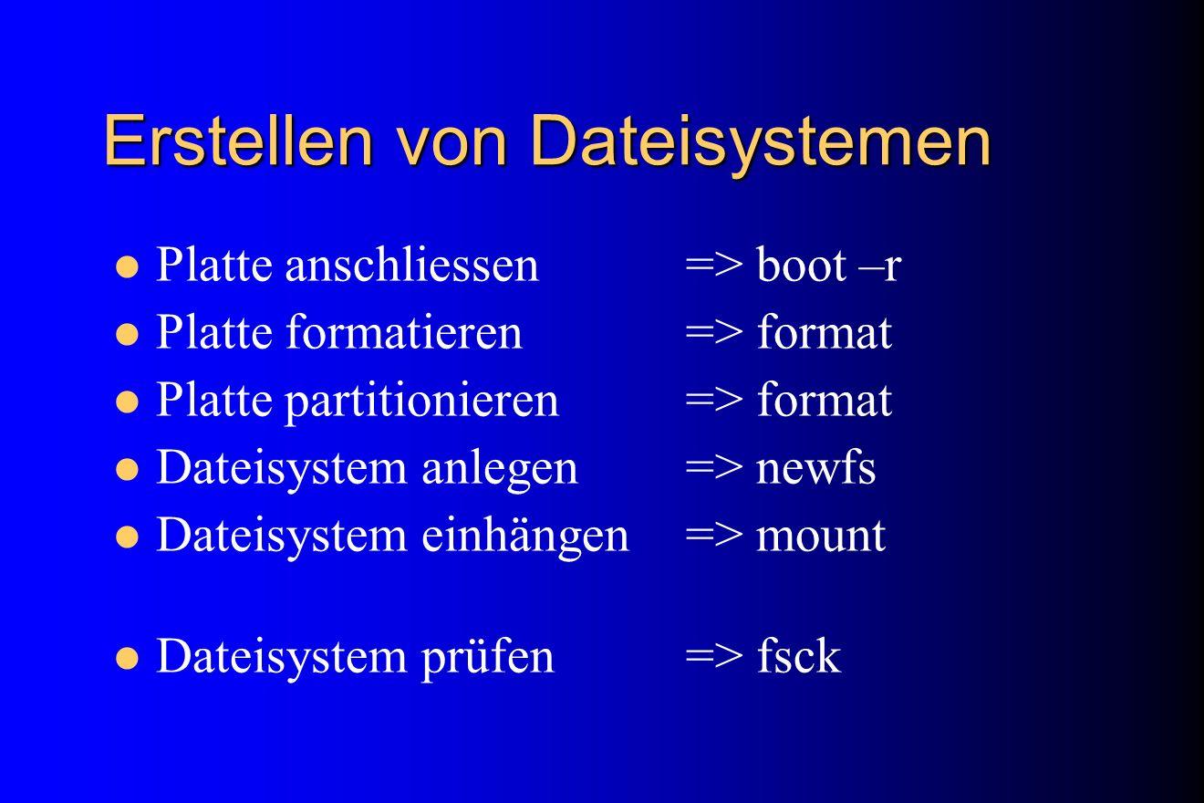 Erstellen von Dateisystemen Platte anschliessen => boot –r Platte formatieren=> format Platte partitionieren => format Dateisystem anlegen => newfs Da