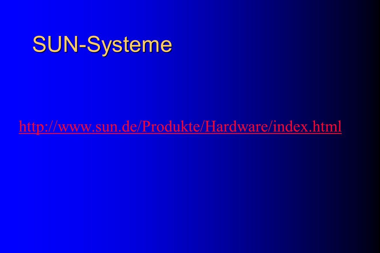 SUN-Systeme http://www.sun.de/Produkte/Hardware/index.html Werner Sinz (RUS): Demo: Mit netscape die Produkte anschauen bei Bedarf: s. Prospekte -Thin