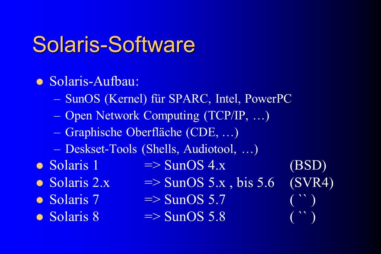 Solaris-Software Solaris-Aufbau: –SunOS (Kernel) für SPARC, Intel, PowerPC –Open Network Computing (TCP/IP, …) –Graphische Oberfläche (CDE, …) –Deskse