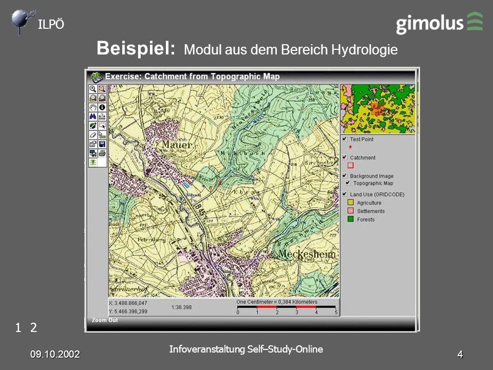 ILPÖ Infoveranstaltung Self–Study-Online 09.10.2002 4 Beispiel: Modul aus dem Bereich Hydrologie 12