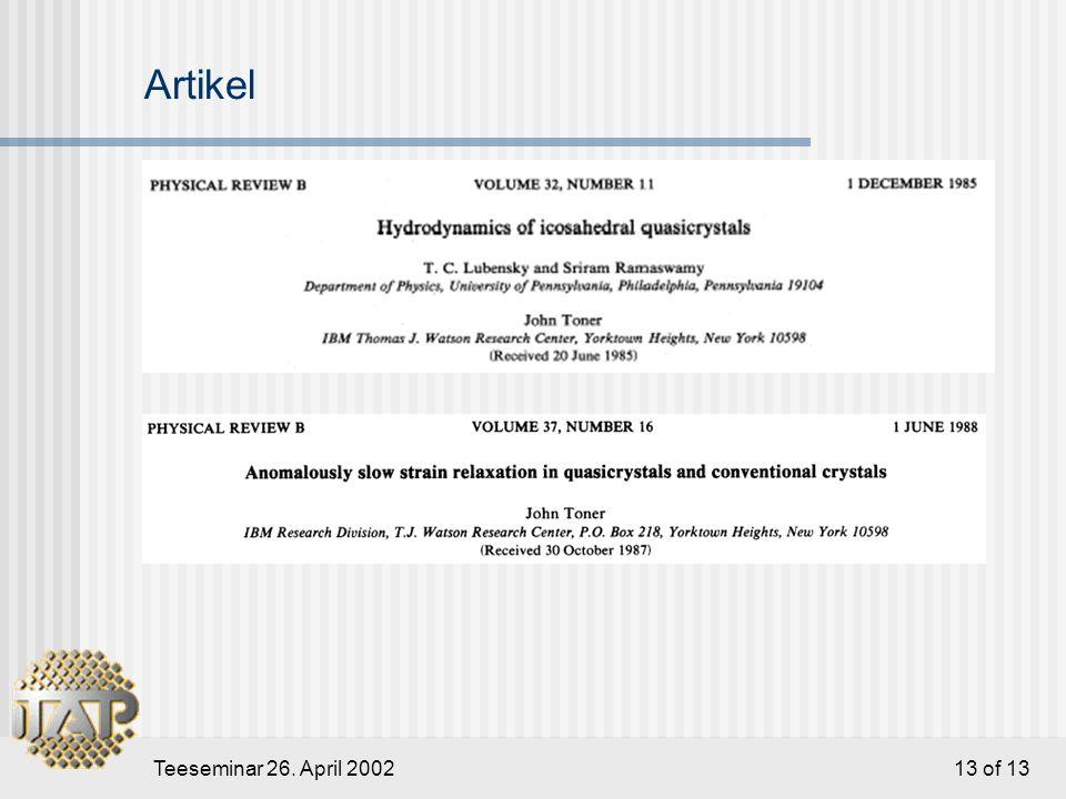 Teeseminar 26. April 2002 13 of 13 Artikel