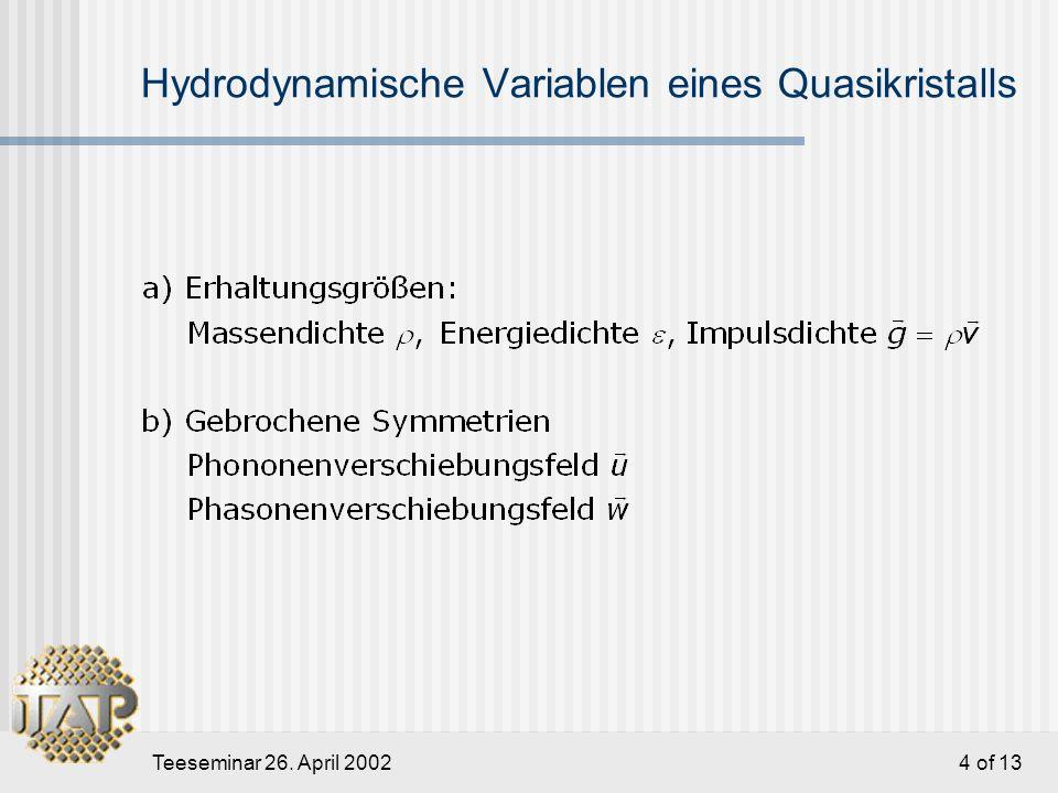 Teeseminar 26. April 2002 4 of 13 Hydrodynamische Variablen eines Quasikristalls