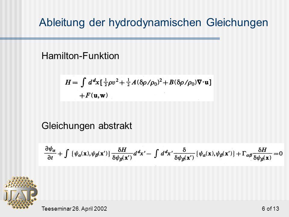 Teeseminar 26. April 2002 7 of 13 Elastische Energie im Fourier-Raum