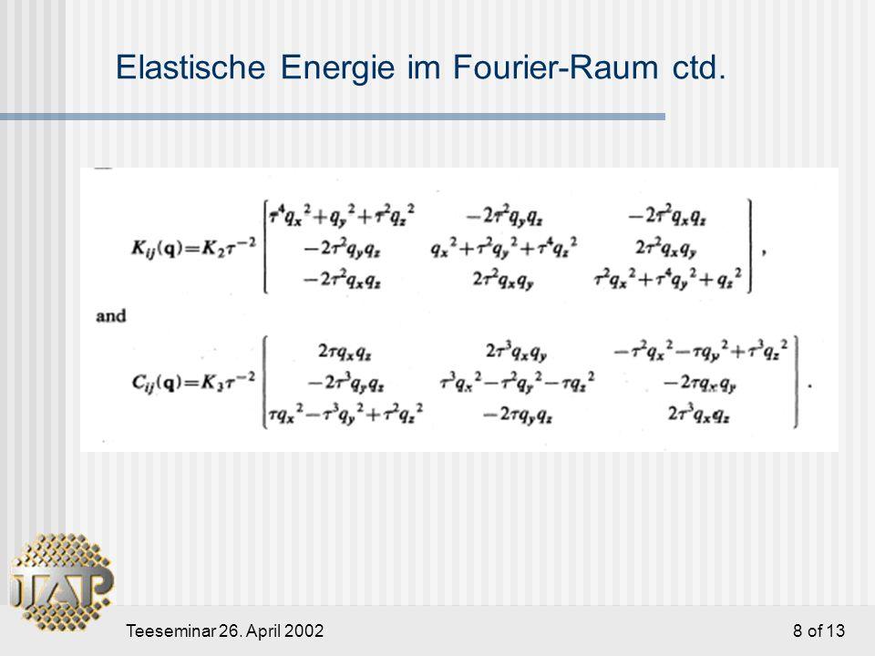 Teeseminar 26. April 2002 9 of 13 Hydrodynamische Gleichungen