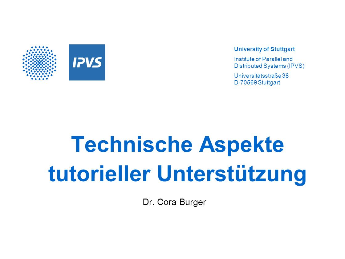 Department Distributed Systems 2 Überblick Gemeinsame Arbeitsbereiche Chat, Instant Messaging, Audio-/Videokonferenz Shared Whiteboard, entfernte Anwendungssteuerung Adress-,Terminverwaltung Forum Lernkontrolle