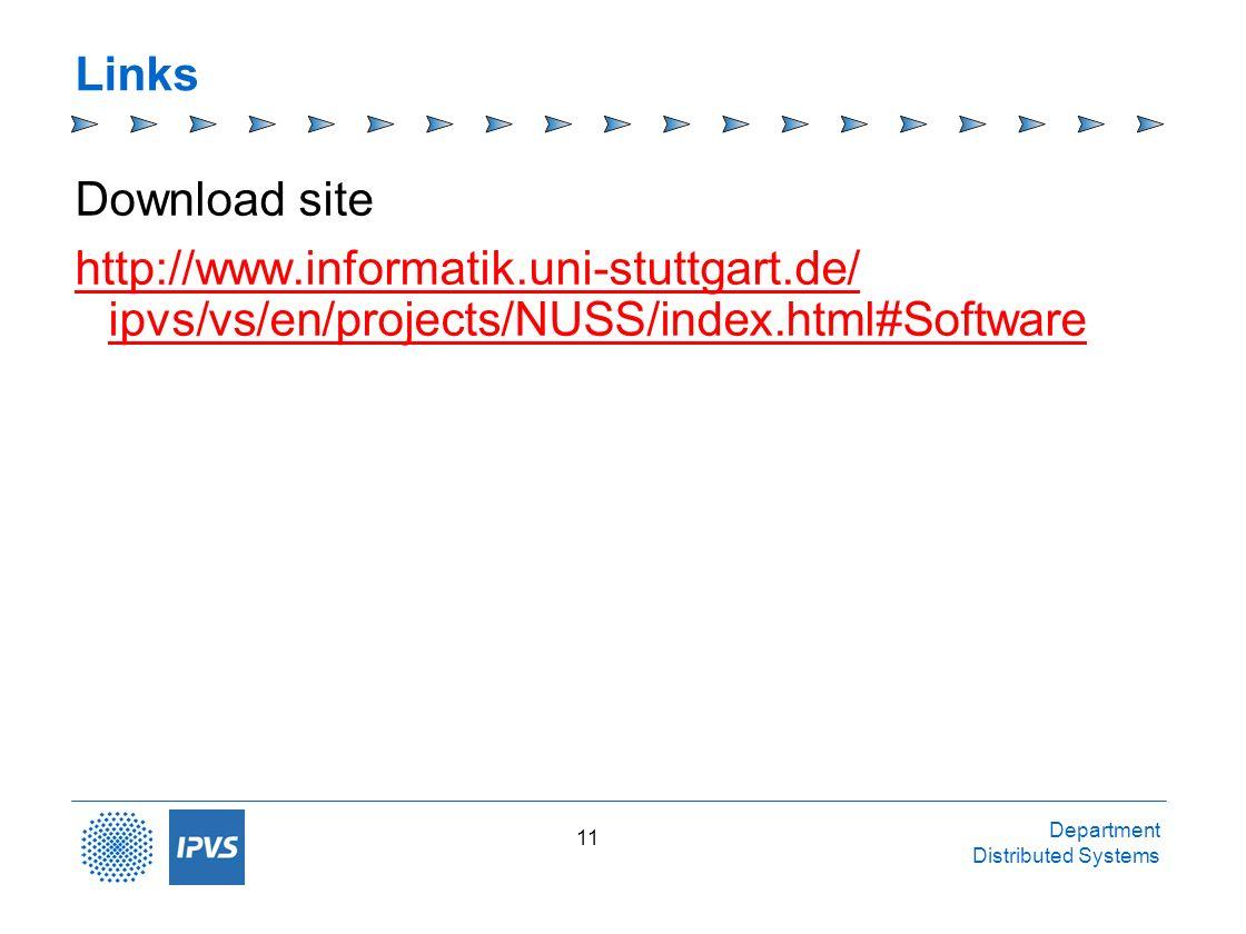 Department Distributed Systems 11 Links Download site http://www.informatik.uni-stuttgart.de/ ipvs/vs/en/projects/NUSS/index.html#Software